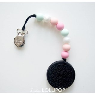 Loulou Lollipop Black Cookie Teether Set, Pink Mint