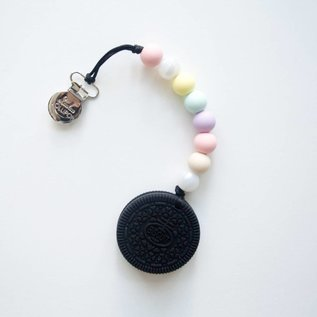 Loulou Lollipop Black Cookie Teether Set, Cotton Candy