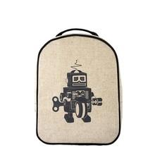 Grey Robot Raw Linen Little Lunchbox