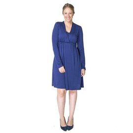 Momzelle Deep Blue Nursing Dress, ABIGAIL