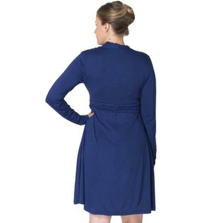 Momzelle Deep Blue Nursing Dress, ABIGAIL
