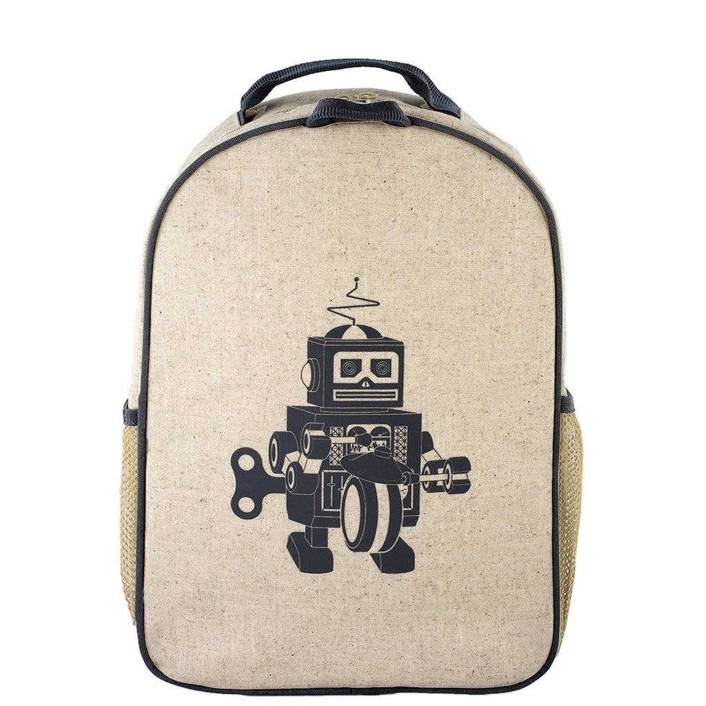53030aa39136 Grey Robot Raw Linen Toddler Backpack