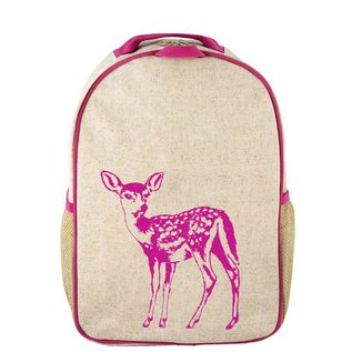 SoYoung Pink Fawn Raw Linen Toddler Backpack