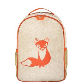 SoYoung Orange Fox Raw Linen Toddler Backpack