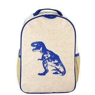 Blue Dino Raw Linen Toddler Backpack