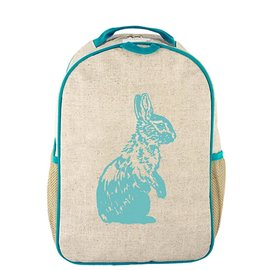 SoYoung Aqua Bunny Raw Linen Toddler Backpack