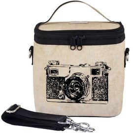 SoYoung Black Camera Raw Linen Large Cooler Bag