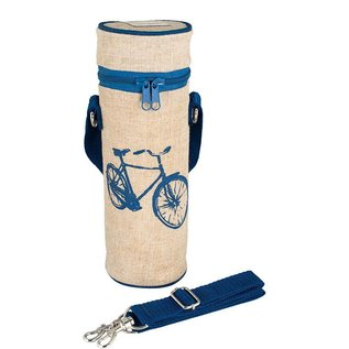 SoYoung Blue Bicycle Raw Linen Water Bottle Bag