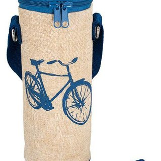 Blue Bicycle Raw Linen Water Bottle Bag