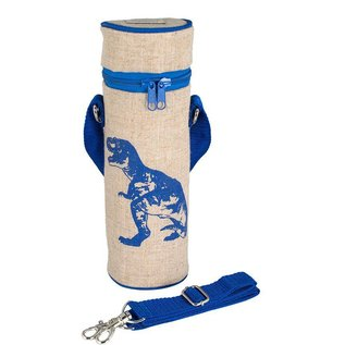SoYoung Blue Dino Raw Linen Water Bottle Bag