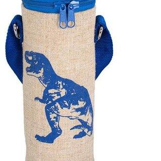 Blue Dino Raw Linen Water Bottle Bag