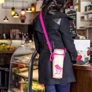 SoYoung Pink Birds Raw Linen Water Bottle Bag