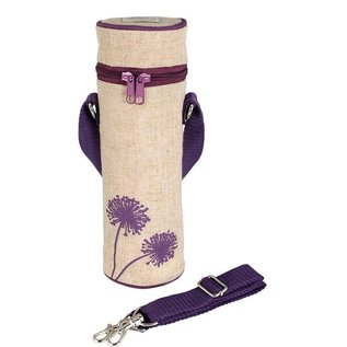 SoYoung Purple Dandelion Raw Linen Water Bottle Bag