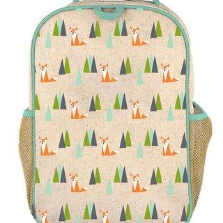 Olive Fox Raw Linen Gradeschool Backpack