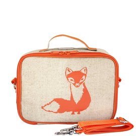SoYoung Orange Fox Raw Linen Lunchbox