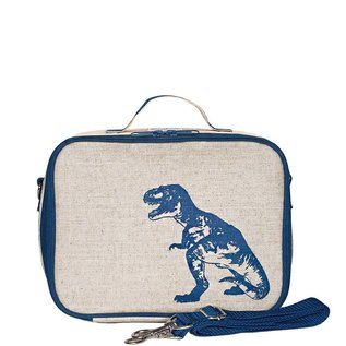 SoYoung Blue Dino Raw Linen Lunchbox