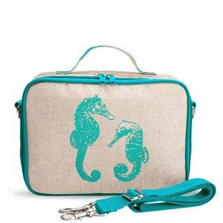 Aqua Seahorse Raw Linen Lunchbox