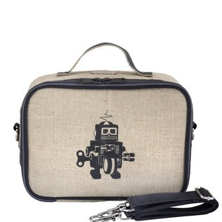 SoYoung Grey Robot Raw Linen Lunchbox