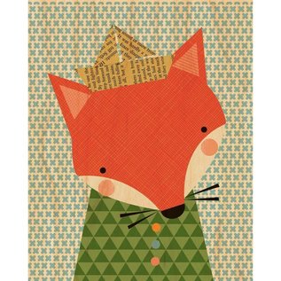 Petit Collage Shy Fox Print On Wood