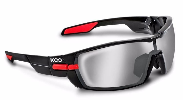 Kask KOO Open Sunglasses Black and Red  w/ Smoke Mirror Lens