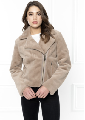 BINX Beige Faux Fur Jacket