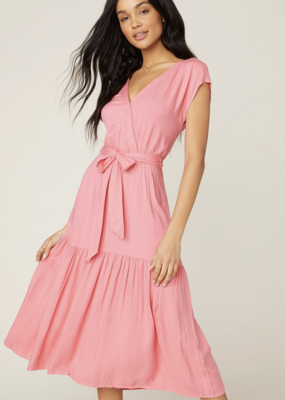 HOLDING ON BELTED MIDI DRESS