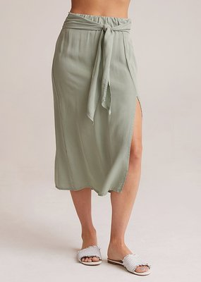 Smocked Tie Up Midi Skirt
