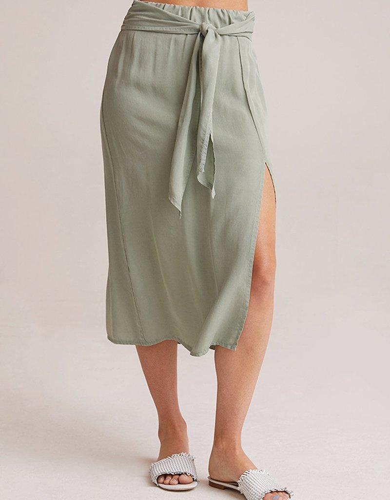 Smocked Tie Up Midi Skirt