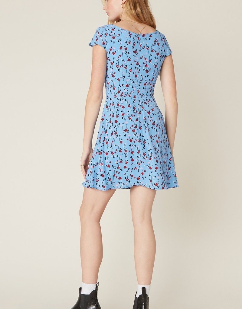 La Femme Floral Mini Dress