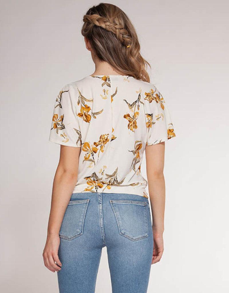 Floral Print Blouse w/ Tie Front