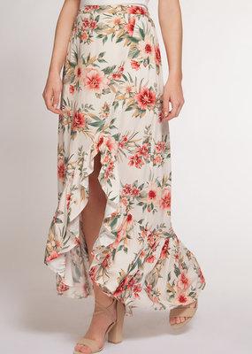 Ruffle Floral Midi Skirt