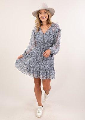 LS I-71911 Printed Volume Sleeve Dress