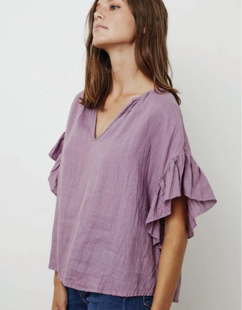 Velvet Colleen Linen Flutter Sleeve Top