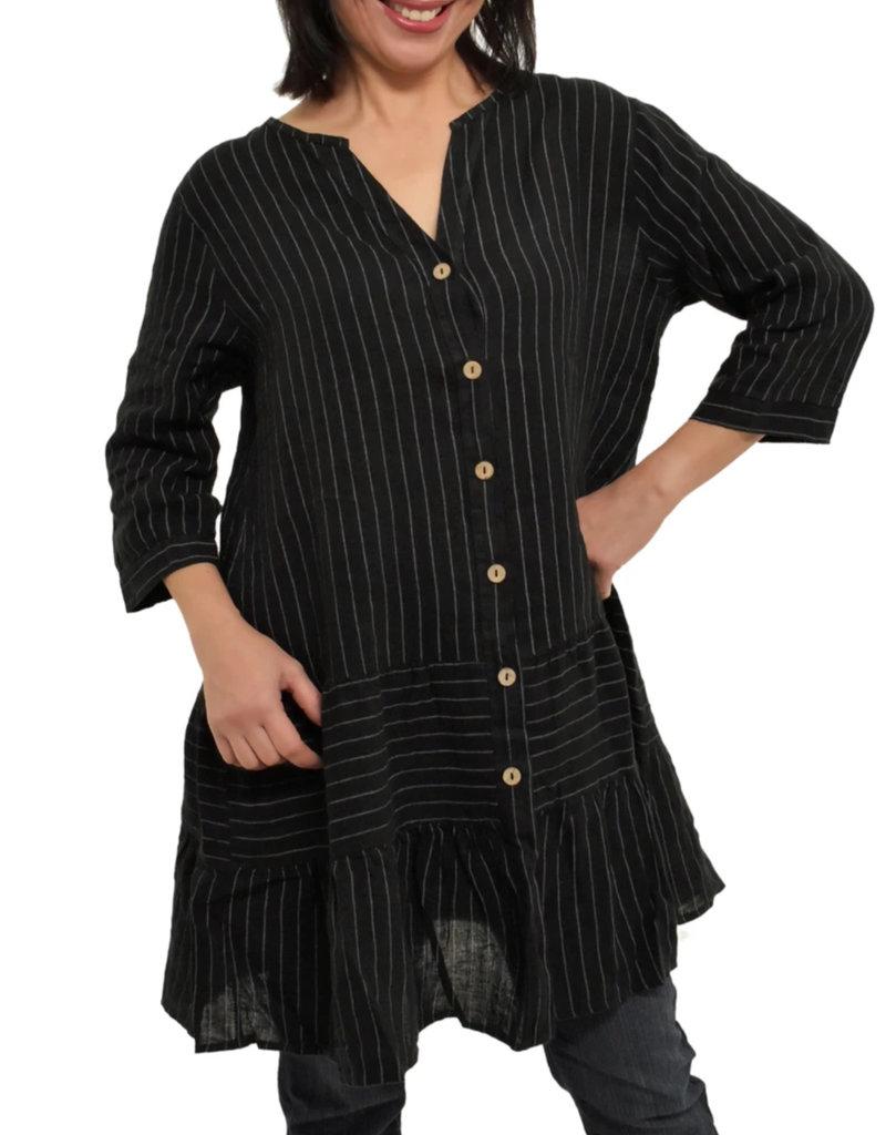 Pistache Linen Pinstripe Dress w/ Sleeves