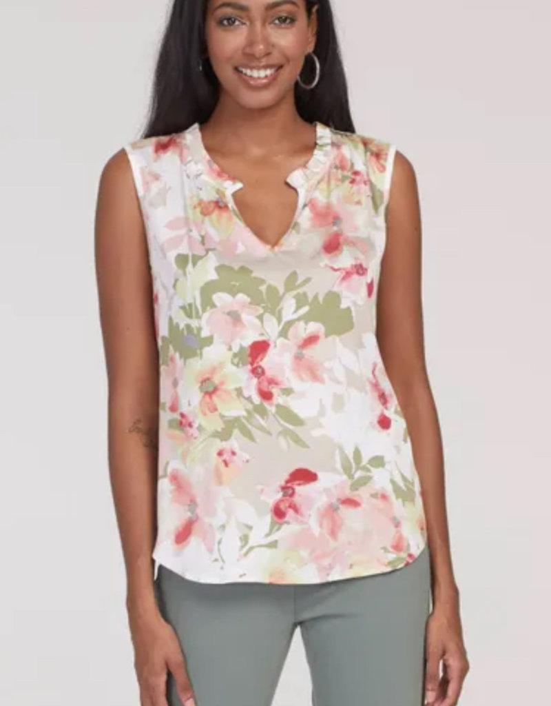 TRI Sleeveless frill neck blouse