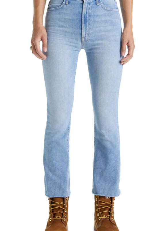 The Hustler High Waist Frayed Ankle Bootcut Jeans