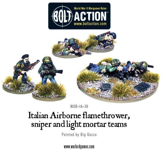 Warlord games Bolt Action: Italian- Airborne Flamethower, Sniper, & light Mortor Teams