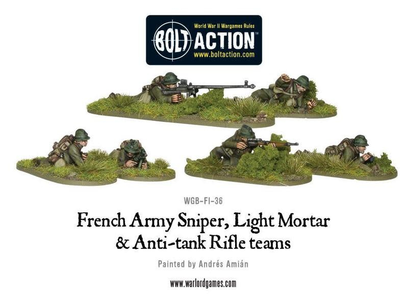 Warlord games Bolt Action: French- Army Sniper, Light Mortar and AT Rifle Teams