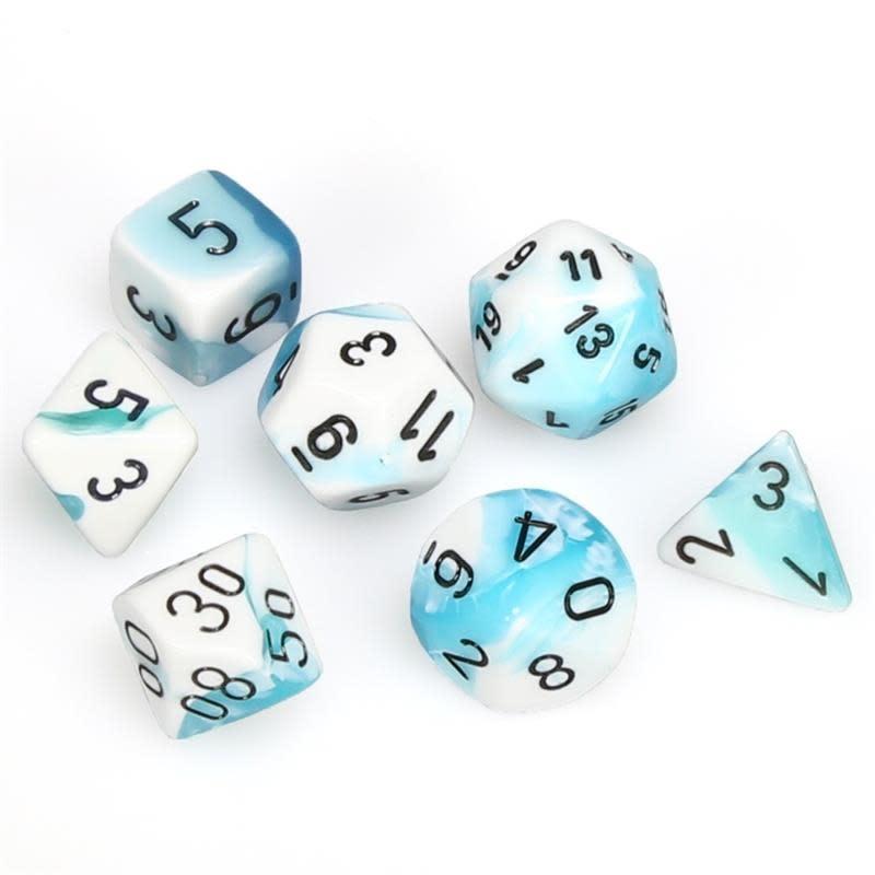 Chessex Chessex Gemini: Poly set, White-Teal/Black (7) DICE