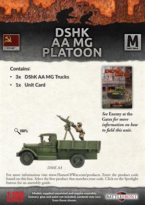 Flames of War Flames of War: Soviet- DSHK AA MG Platoon (mid)