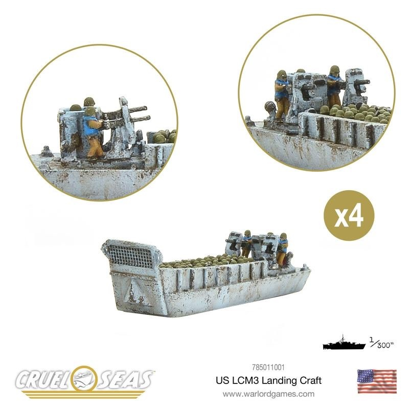 Warlord games Cruel Seas: US -LCM3 US Landing Craft