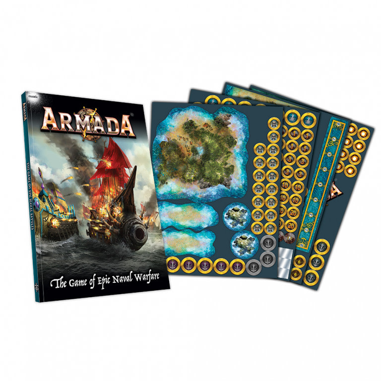Mantic Armada Naval Warfare Book and tokens