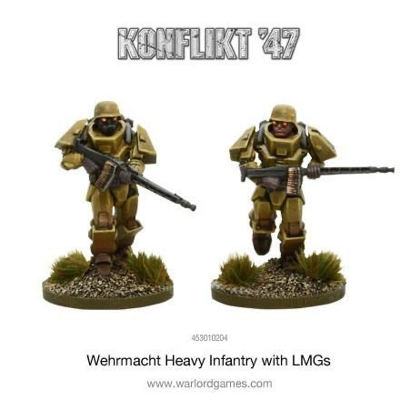 Warlord games Konflikt '47: German- Heavy Infantry with LMG's