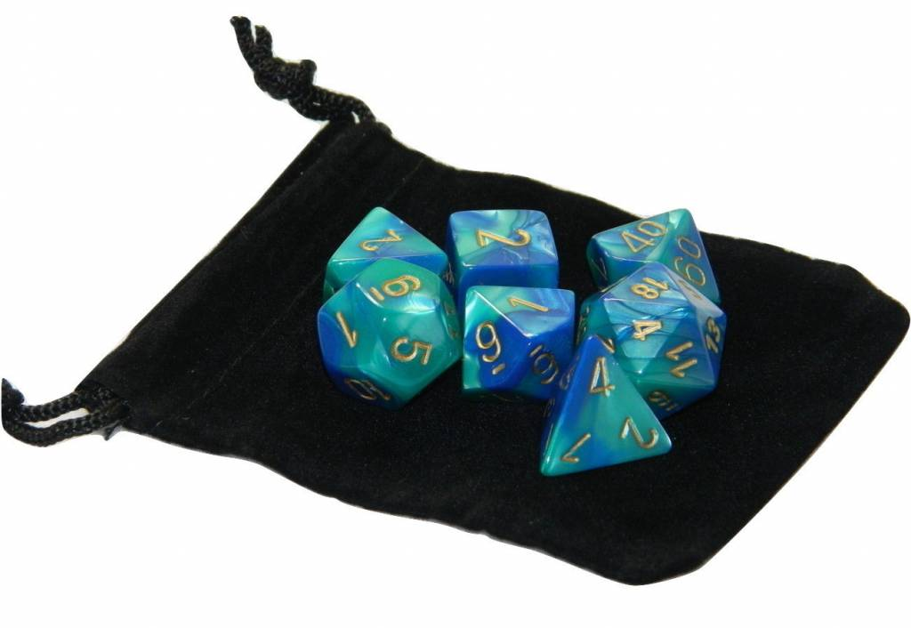 Chessex Chessex Gemini : Poly Blue-Teal/Gold (7) dice set