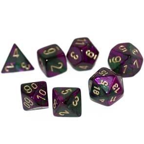 Chessex Chessex Gemini: Poly Set, Green Purple/Gold (7) DICE