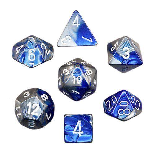 Chessex Chessex Gemini: Poly Set, Blue-Steel/White (7) DICE