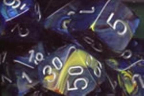 Chessex Festive: Poly, Green/Silver (7) DICE