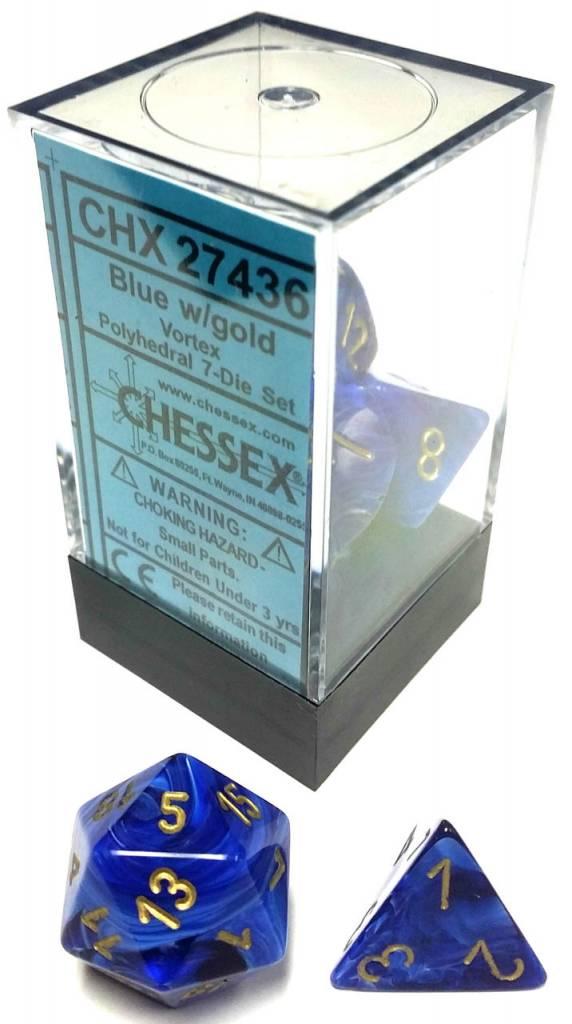 Chessex Chessex Vortex: Poly Set,  Blue/Gold (7) DICE