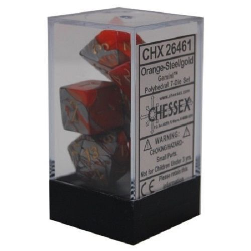 Chessex Chessex Gemini: Poly set Orange-steel/gold (7) Dice