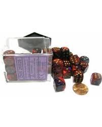 Chessex Chessex Gemini 12mm d6 Purple-Red w/gold (36) DICE